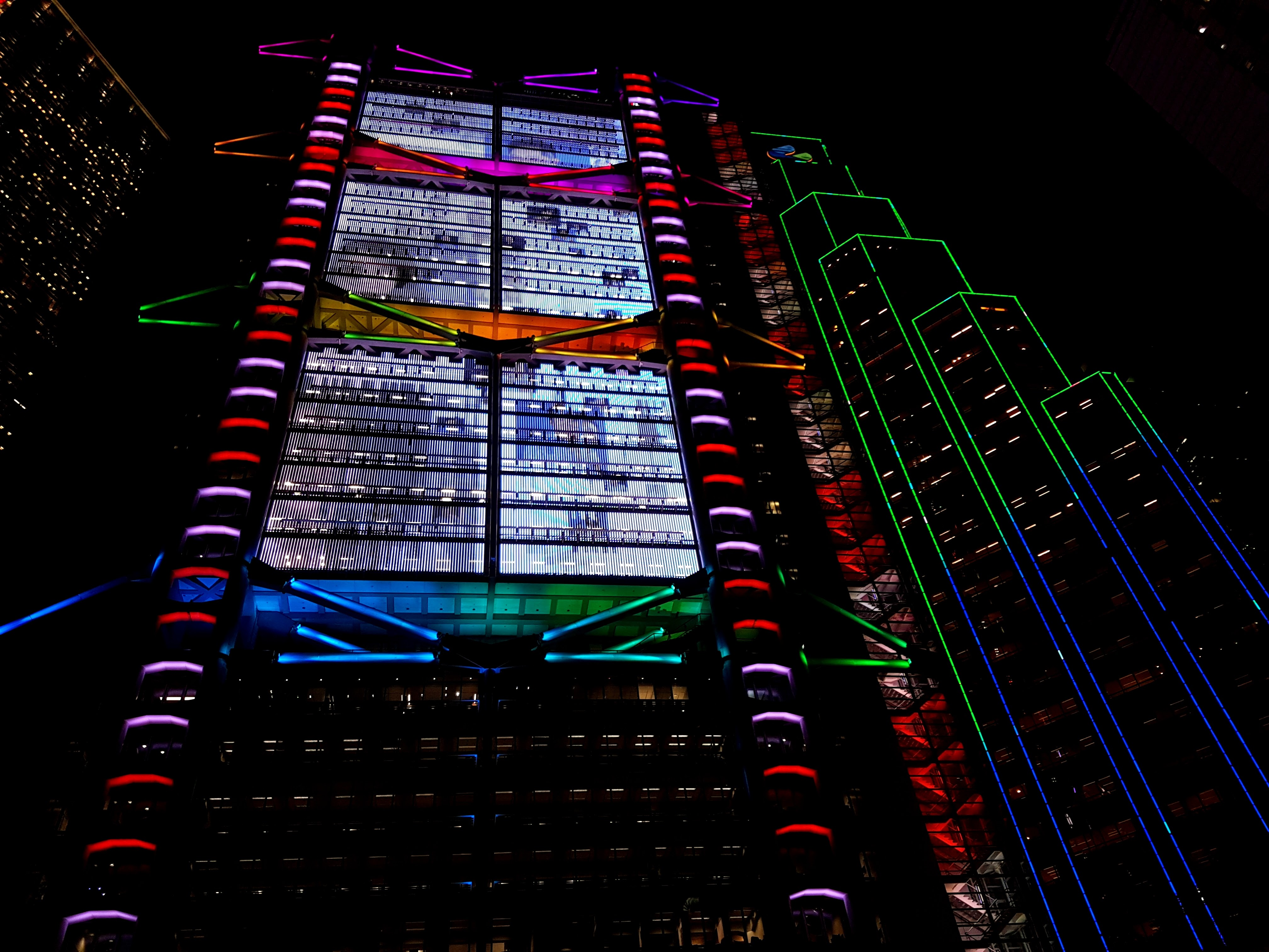The HSBC building lit up during the Lumieres HK Festival